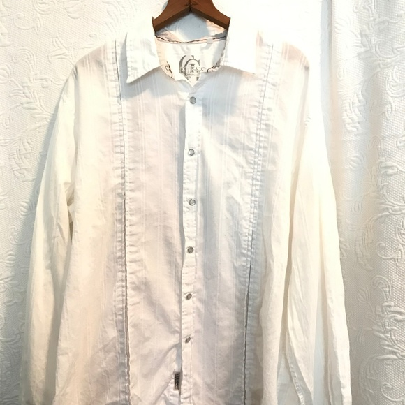 Western Fashion Dress Shirt for Men White on Blue  Embroidered Snap button